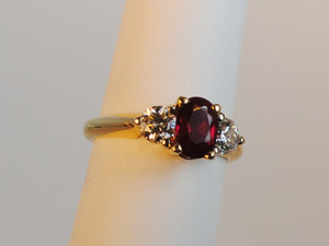 Estate Three Stone Ruby 1.16 carats & Diamond Ring 14kt