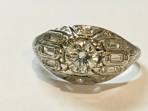 Art Deco Platinum Diamond .75 carat Ring