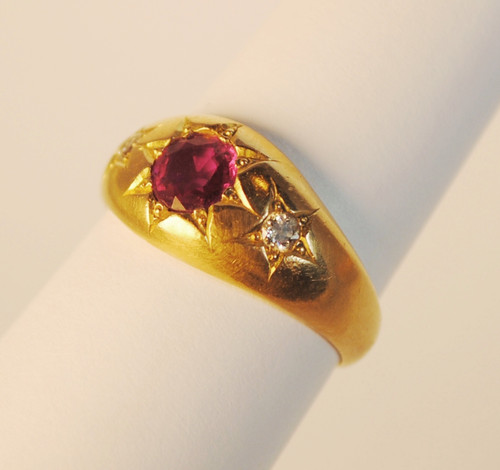 Unique 18kt Victorian Gypsy Style Ruby and Diamond Ring Greenhill