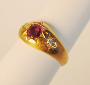 Unique 18kt Victorian Gypsy Style Ruby and Diamond Ring