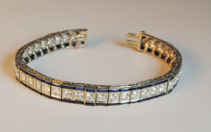 Amazing Art Deco 8 carat Diamond and 8 carat Sapphire Line Bracelet Platinum