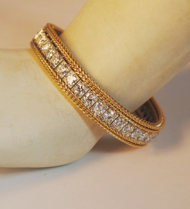 Art Deco E-F/VS 10.40 carat Line Bracelet Platinum and 14kt Yellow Gold