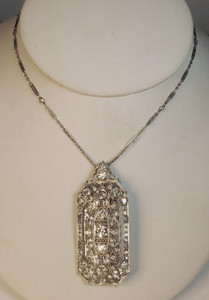 Large Deco Platinum & Diamond Pin/Pendant 6ctw. with chain
