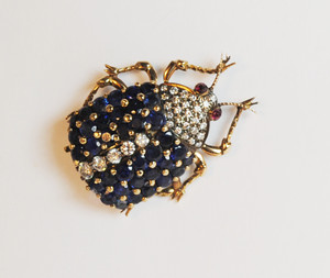Victorian Style Sapphire and Diamond Beetle Pin 14kt Gold over Silver