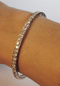 Art Deco Platinum & European Cut Diamond  Bangle 8.00ctw