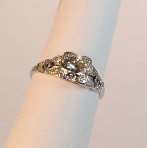 Art Deco  .79 carat Diamond and Platinum Engagement Ring