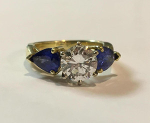 Estate 18kt Yellow Gold  1.39 carat Diamond and Sapphire 3-Stone Ring