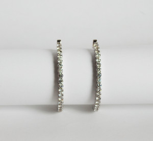 "Large Estate 18kt ""Inside-Out"" Diamond Hoop Earrings 4.5ctw"