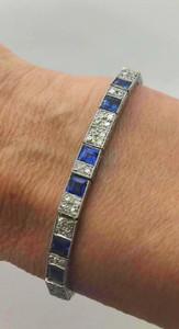Early Art Deco Natural Sapphire 6.4ctw and Diamond 4.0ctw Line Bracelet Platinum
