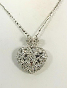 Estate Large 18kt White Gold Diamond Heart Locket 2.0ctw