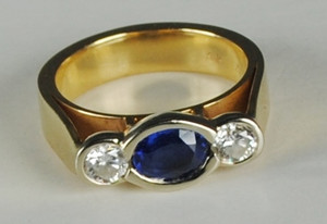 THree Stone Sapphire and Diamond Ring 14kt Yellow Gold