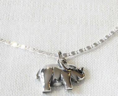 Silver necklace with silver elephant pendant silver elephant pendant nbenp16 image 1 mozeypictures Image collections
