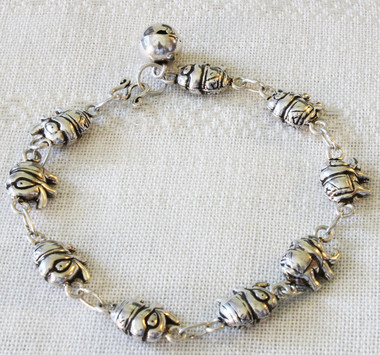 elephant animal j personalized hugerect child product bracelet silver initial sterling