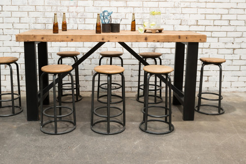 Industrial bar table set f031 set8 stone pony for Outdoor furniture erina