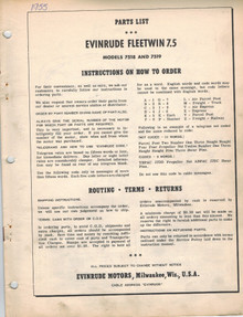 Parts List - Model 7518 and 7519 - 1955 Evinrude Fleetwin 7.5 hp