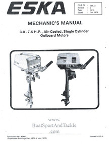 Mechanic's Service Manual - 3.0 to 7.5 hp - Eska 96960