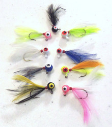 Feather Jig - Choice of 9 Colors - Choice of Weight - 1/16 oz, 1/32 oz, 1/64 oz