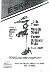 Eska Electric Outboard Motor Owner's Manual - Model 18064A - 14 lb Thrust - Includes Parts List and Diagrams