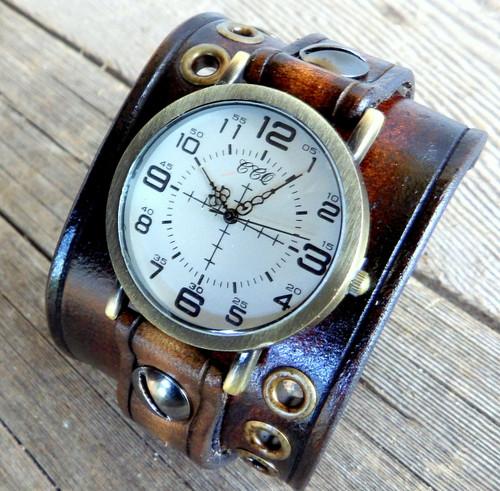 Dark Brown Compass Watch