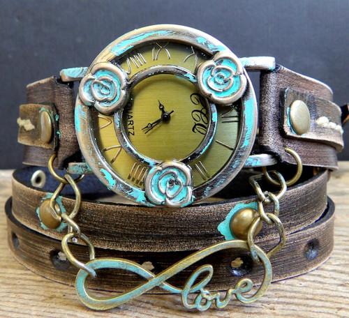 Distressed Brown Flower Wrap Watch