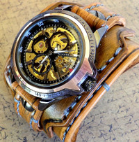 MEDIUM BROWN STEAMPUNK LEATHER WATCH