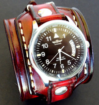 Red and Black Men's Leather Watch