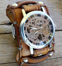 Three Strap Leather Watch Cuff