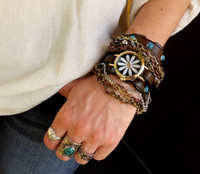 Brown Leather Watch with Turquoise Stones and Chains