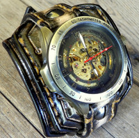 Men's Leather Wrist Watch With Skeleton Face