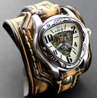 Triangle Steampunk Watch with Layered Leather Cuff