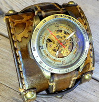Steampunk Watch with Gear Leather Band