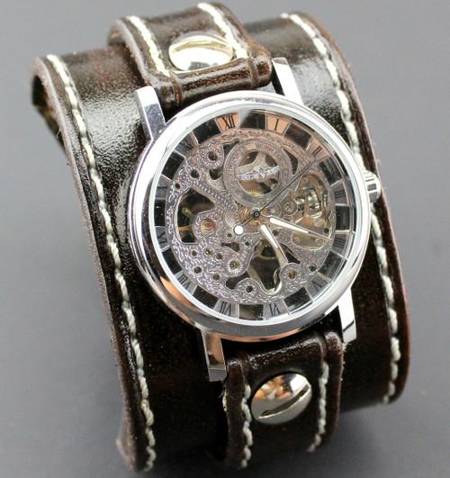 Dark Brown Leather Watch Cuff