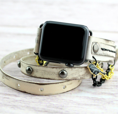 Distressed White Apple Wrap Band with Black and Gold Chain