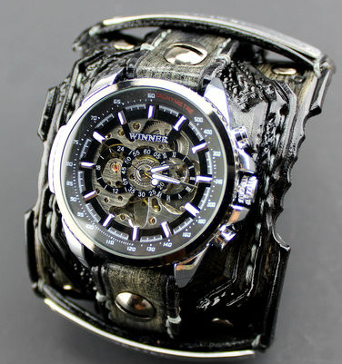 Distressed Steampunk Leather Watch