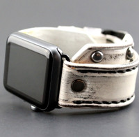 White Leather Apple Watch Cuff with Gunmetal Rivets