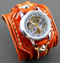 Tan Skeleton Leather Watch