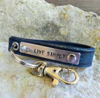 Live Simply Leather Keychain