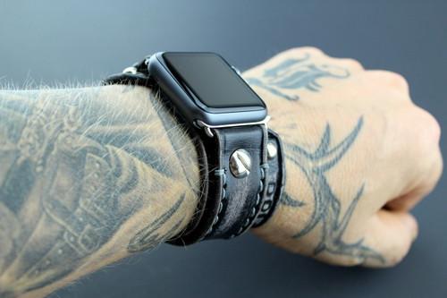 Distressed Black Apple Watch Band