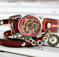 Red and Black Steampunk Leather Wrap Watch