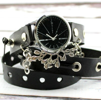 Black Leather Wrap Watch with Silver Embellishment