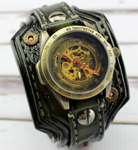 Green Burnt Looking Steampunk Leather Wrist Watch