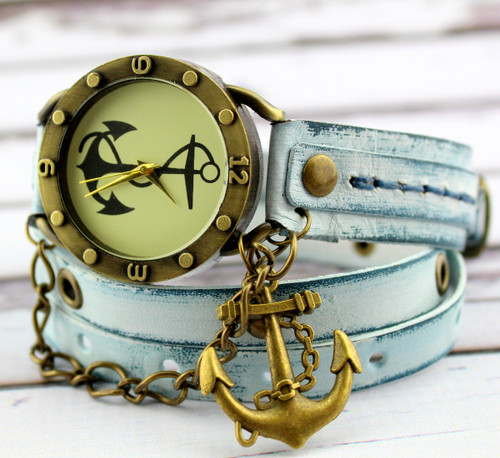 Anchor Leather Wrap Watch in Ocean Blue