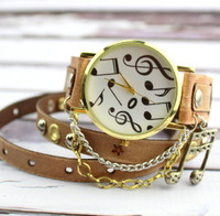 Gold Music Leather Wrap Watch in Sand Color