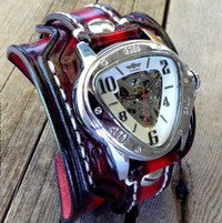 Wide Leather Cuff with Triangle Steampunk Watch in Red and Black