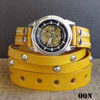 Yellow Steampunk Leather Wrap Watch