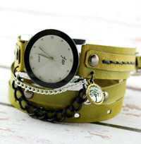 Green Leather Wrap Watch with Tree of Life Charm