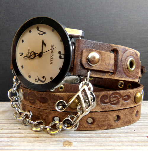 Distressed Brown Music Leather Wrap Watch with Musical Note Charm