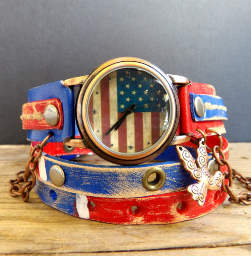 American Flag Leather Wrist Watch with Bird Charm-US Flag Watch