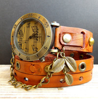Antique Music Wrap Watch with Leaf Charm