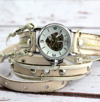 Steampunk Leather Wrap Watch-Distressed White Women's Watch